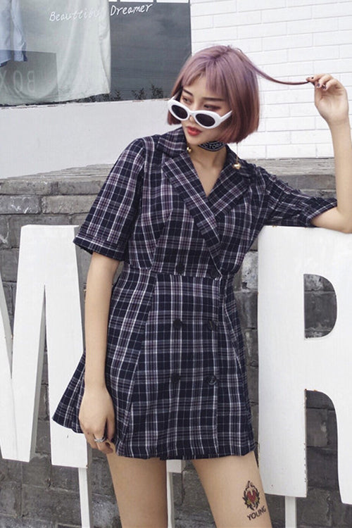 Plaid Trench Designed Mini Dress (2 Colors)