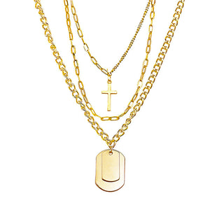Cross 3 Line Chain Necklace (Gold)