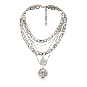 Triple Chain Medal Necklace (2 colors)