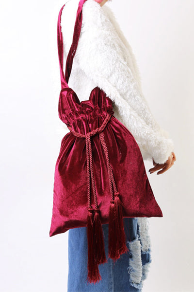 Velvet Tassel Drawstring Bag (2 Colors)