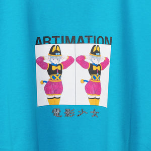ARTIMATIONx VIDEO GIRL AI DOUBLE BOX S/S T-shirt (Blue)
