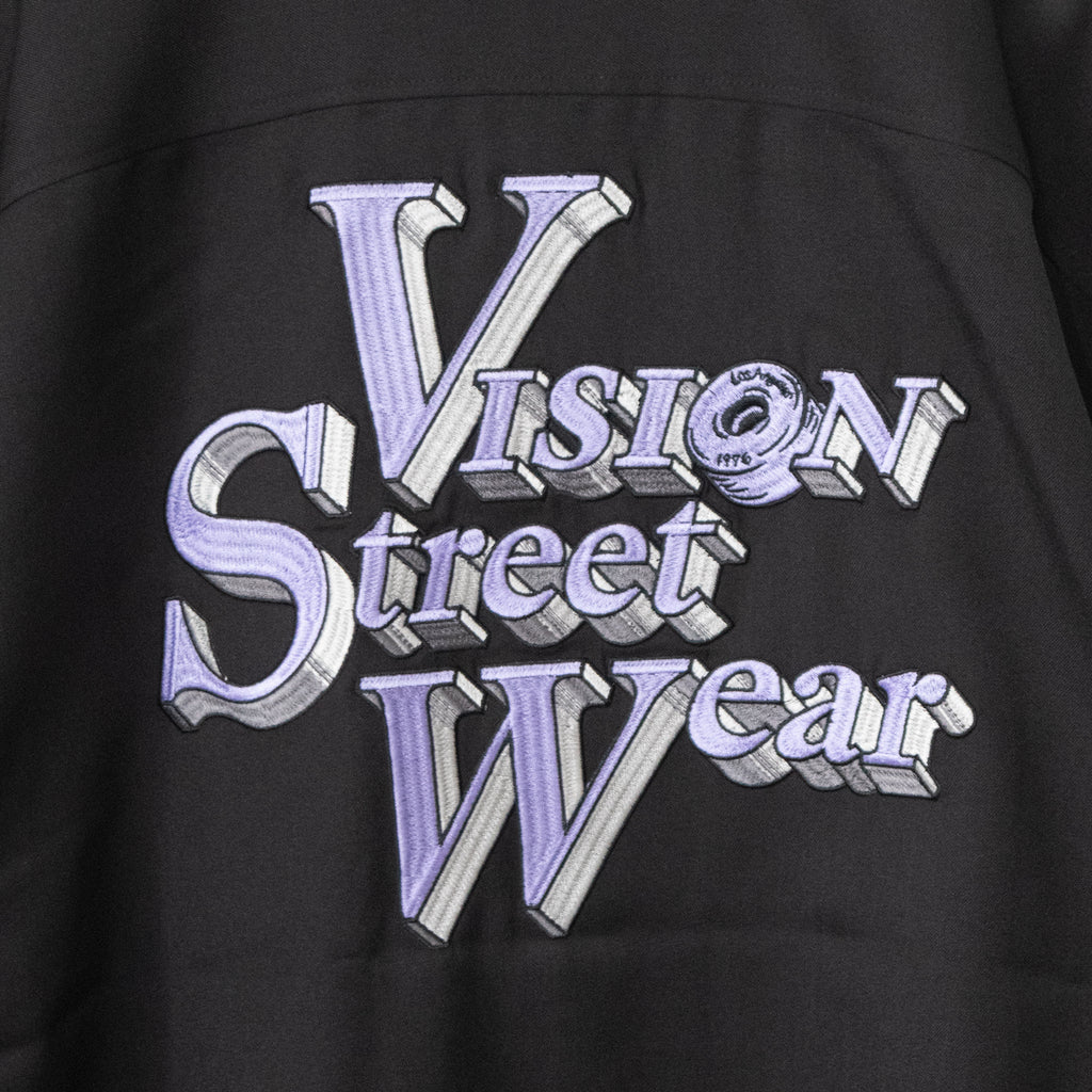 VISION STREET WEAR Logo Embroidery Open Collar Shirt (2 color)