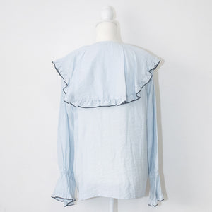 Brown&Street Big Ruffle Collar Blouse (Light Blue)