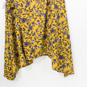 Vintage Flower No Sleeve Dress (Mustard)