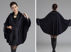 Faux fox fur knitted shawl cape