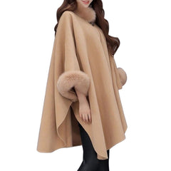 Cashmere & Faux Fox Fur Collar Cloak