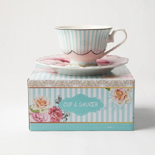 JENNA CLIFFORD (JC-7050) (WAVY ROSE) (IN A GIFT BOX) CUP & SAUCER
