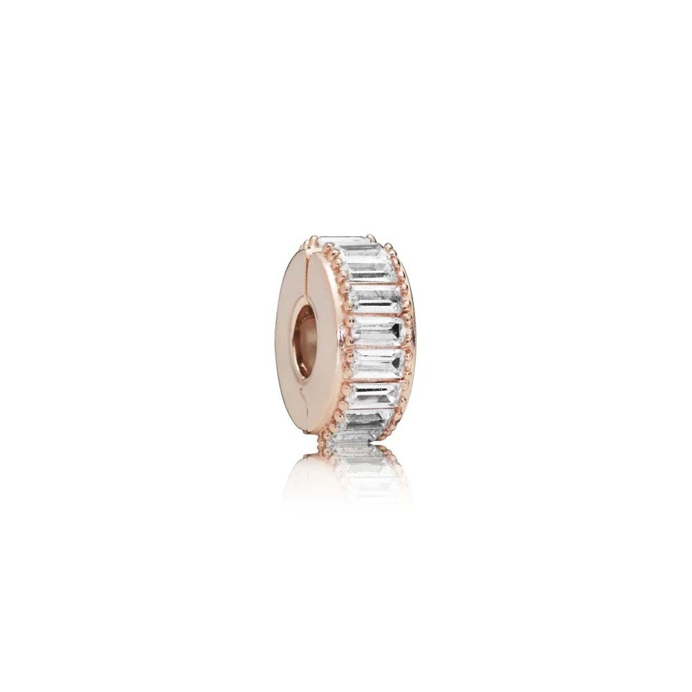 PANDORA (ROSE CLIP WITH CLEAR CUBIC ZIRCONIA AND SILICONE GRIP)