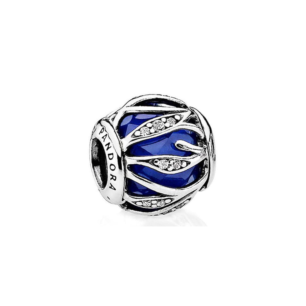PANDORA (ABSTRACT SILVER WITH FACETED ROYAL BLUE CRYSTAL AND CLEAR CUBIC ZIRCONIA) CHARM