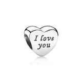 PANDORA (SILVER HEART WITH ENGRAVING I LOVE YOU) CHARM