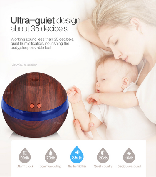 USB Wooden Ultrasonic Essential Oils Diffuser with 7 Color LED Lights (With FREE Essential Oils Book)