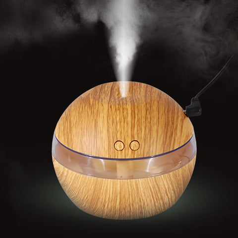 USB Wooden Ultrasonic Essential Oils Diffuser with 7 Color LED Lights (With FREE Essential Oils eBook)