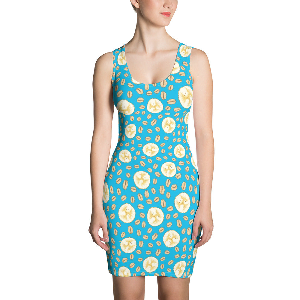 Banana Oatmeal Women's All Over Fruit Print Pattern Sublimation Cut & Sew Dress