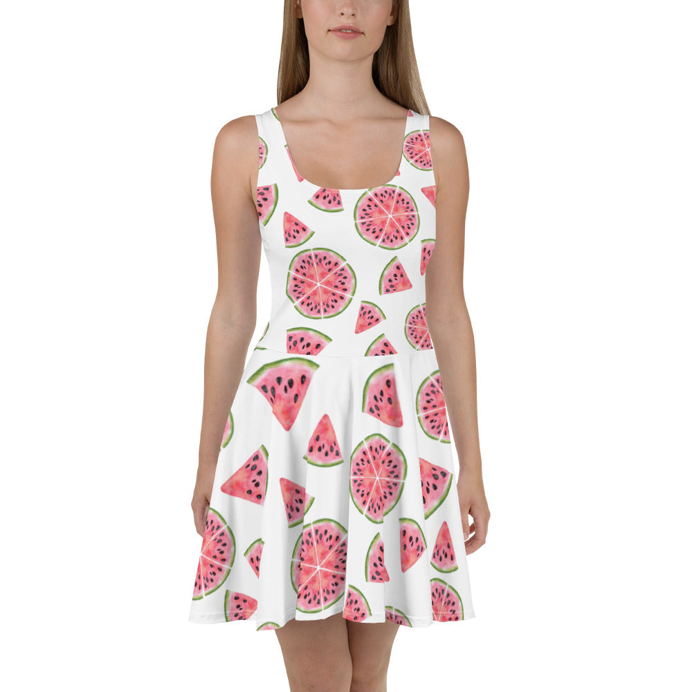 Watermelon Fruit Print Pattern White Skater Dress