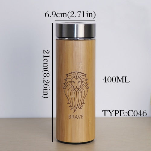 Bamboo Stainless Steel Insulated Keep Cool Thermo Smoothie Cup