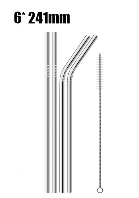 Reusable Stainless Steel Drinking Straws with Cleaner Brush