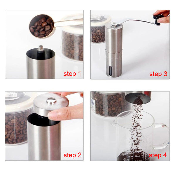 Manual Stainless Steel Coffee Grinder (For Coffee, Oats, Nuts and Seeds)
