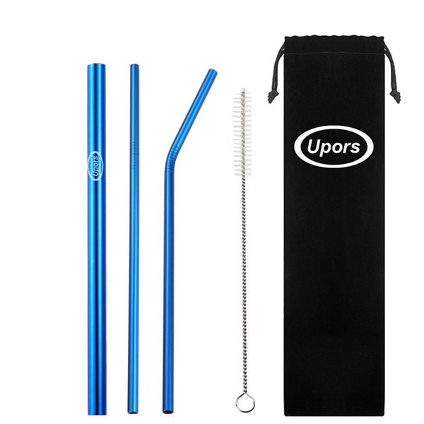 Eco-friendly Reusable Stainless Steel Straws Set with Brush & Bag