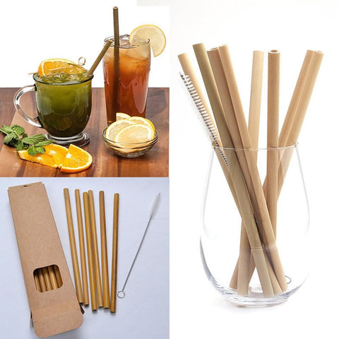 Eco-Friendly Reusable Bamboo Drinking Straws (10 pack + Cleaning Brush)