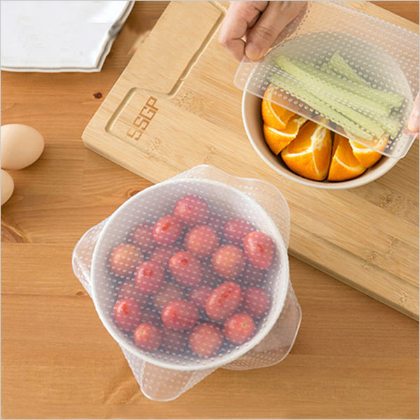 Reusable Silicone Fresh Food Vacuum Seal Stretch Wrap 4pcs/set