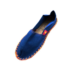 Espadrilles plates mixtes Indigo fil orange