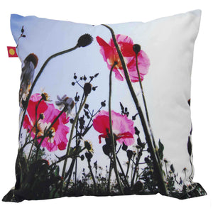 Coussin Trois Coquelicots Roses