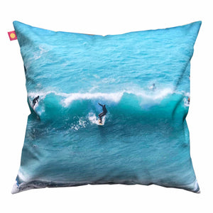 Coussin Surfeurs turquoise