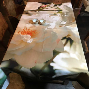Nappe Roses Ivoire 150 x 150 design by Nappe Vegetale