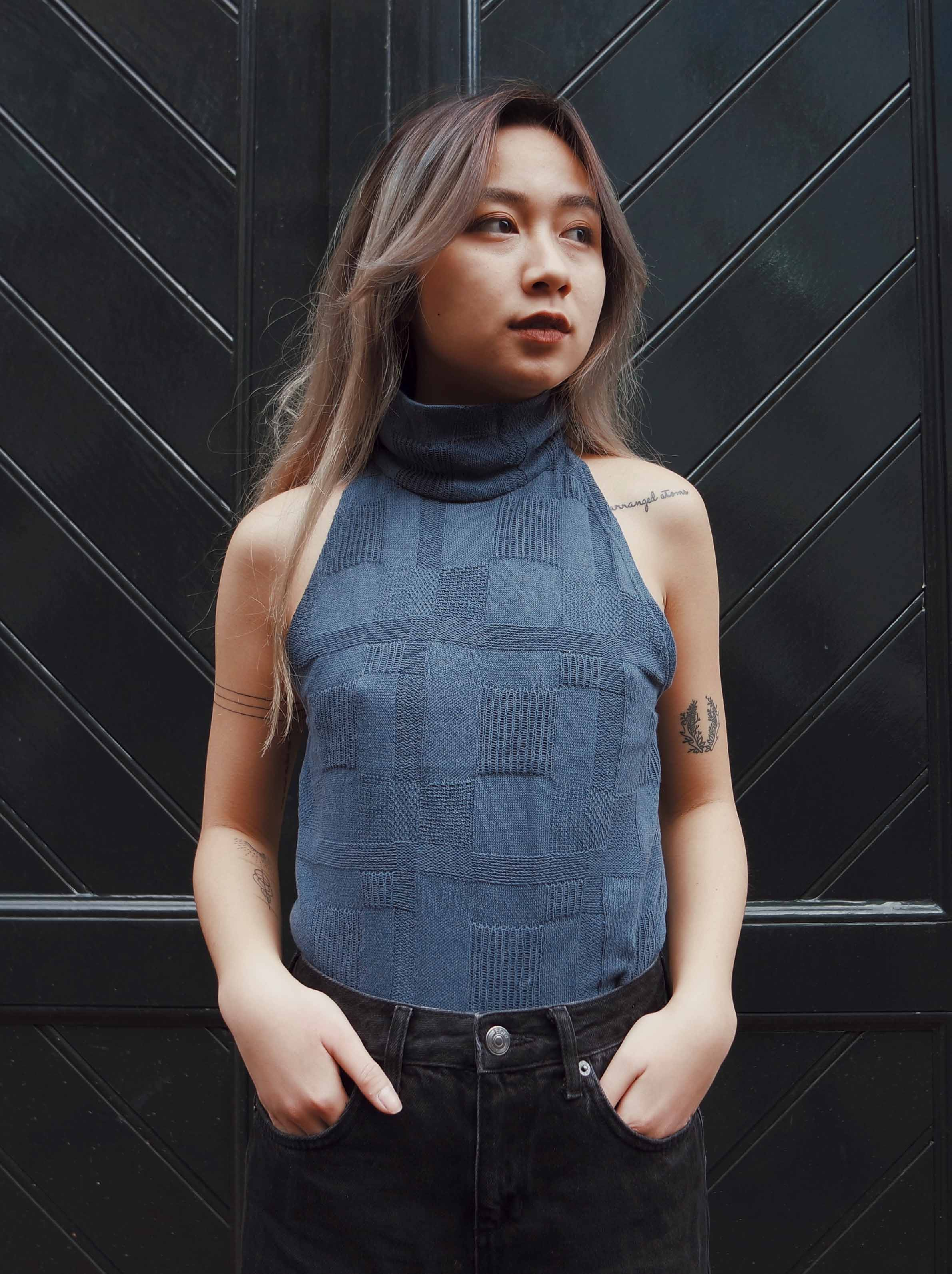 Blue Sleeveless Turtleneck