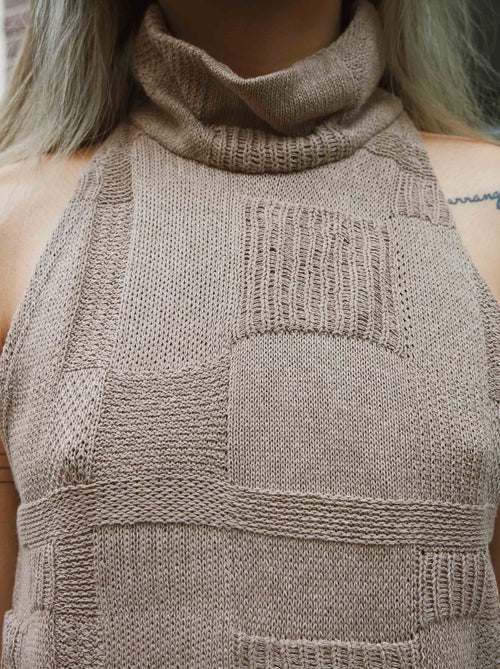Brown Sleeveless Turtleneck
