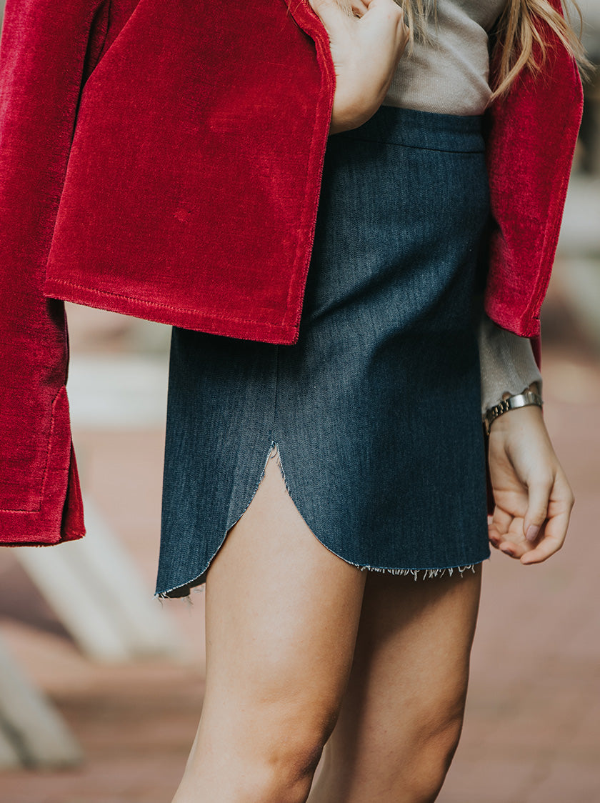 denim skirt vegan fashion noumenon