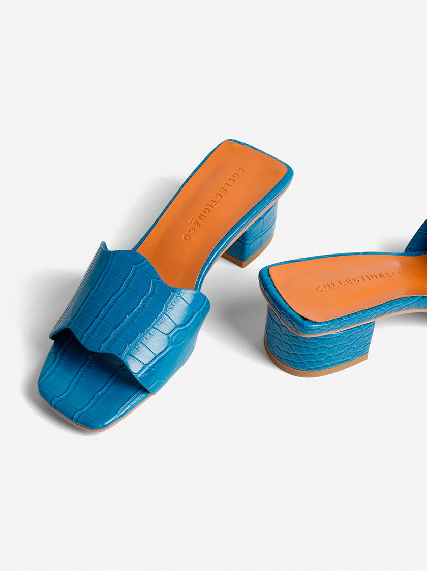 KITTY MULES - BLUE CROC