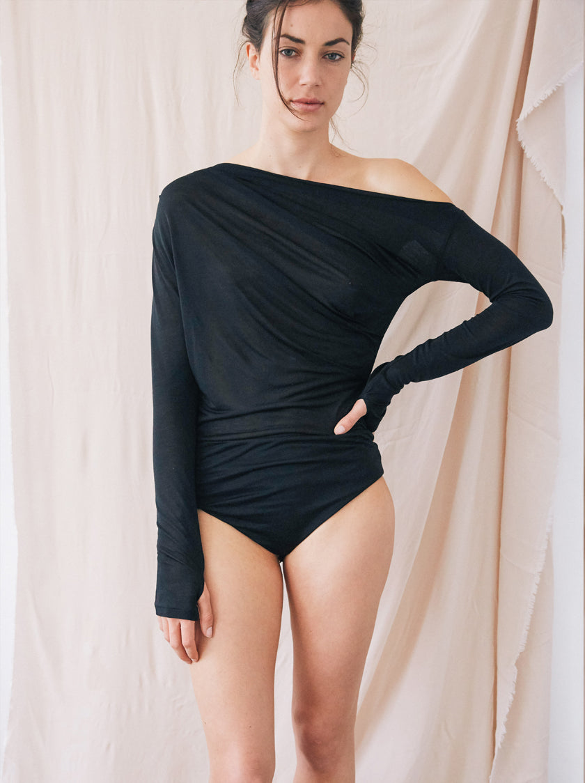 Drape Bodysuit - Black