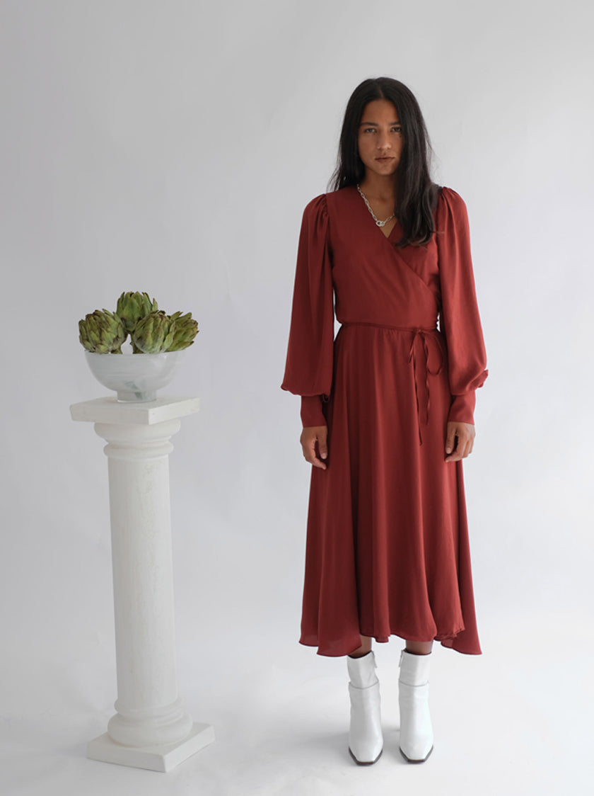 Sunday Bishop Wrap Midi Dress - Merlot