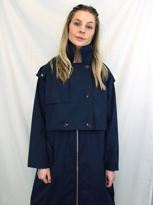 KALMAR TRENCH COAT - DARK NAVY