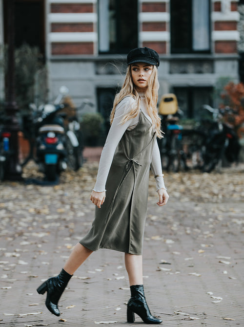 pernille green dress vegan fashion