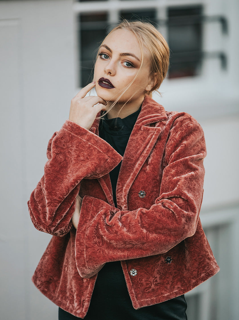 retro pink / red jacket vegan fashion