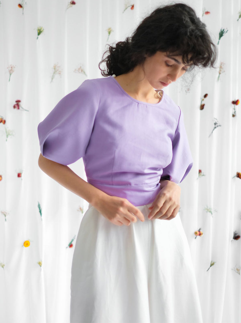 Bloom Reversible Blouse - Orchid/Pearl