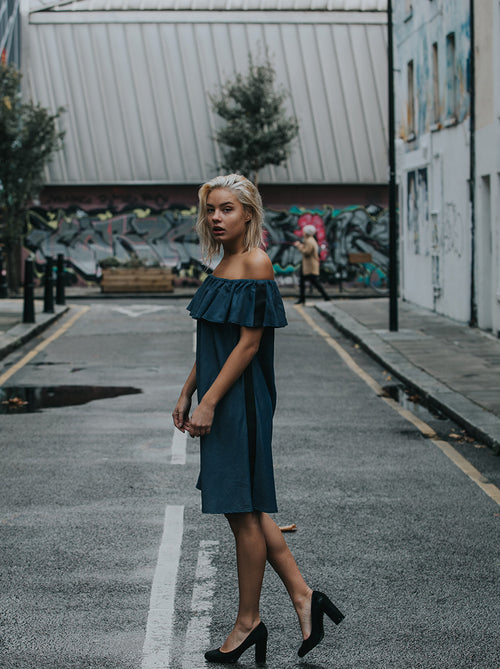 denim ruffle dress vegan fashion noumenon