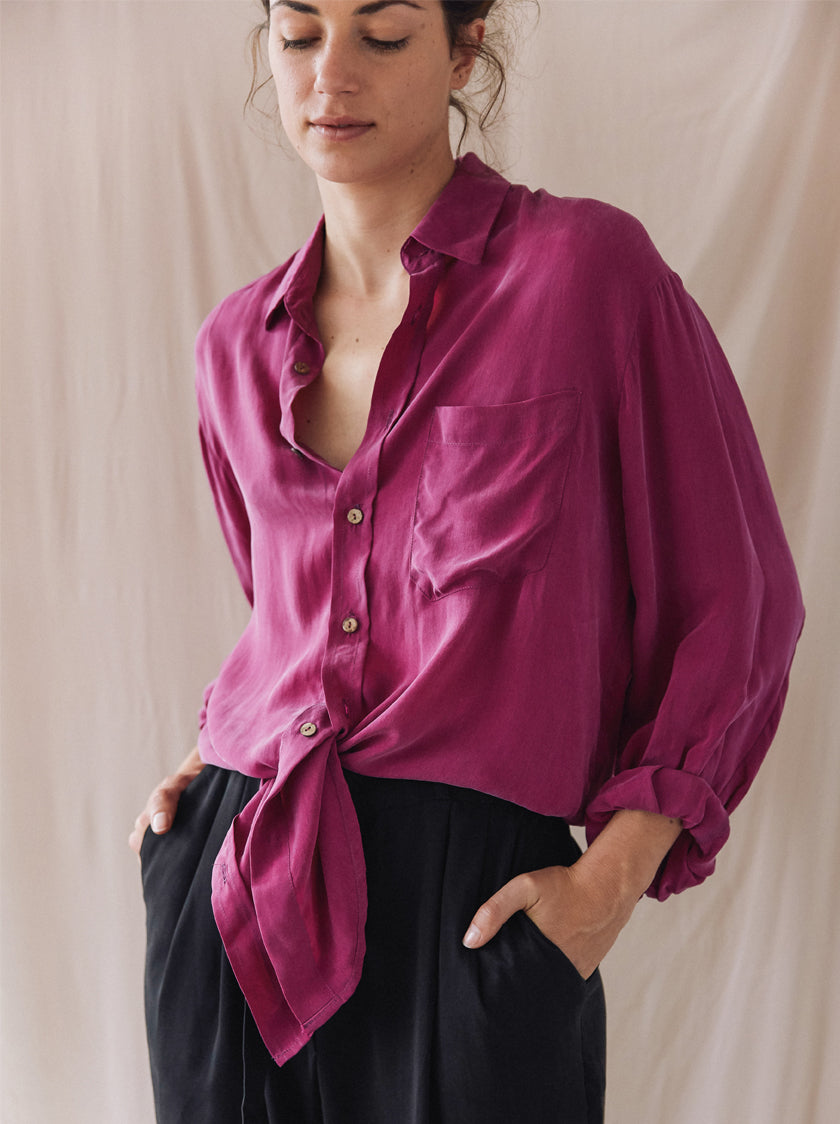 Oversized Tie Shirt - Cassis Pink