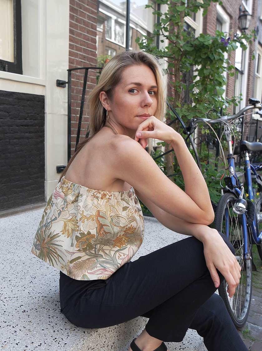 Flowered Ruffle Top