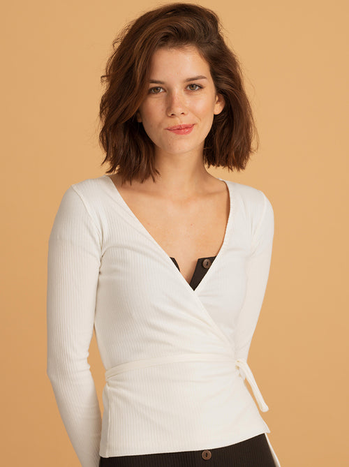 Rib Wrap Top - Off White