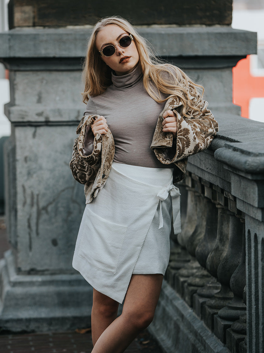 wrapped white skirt vegan fashion