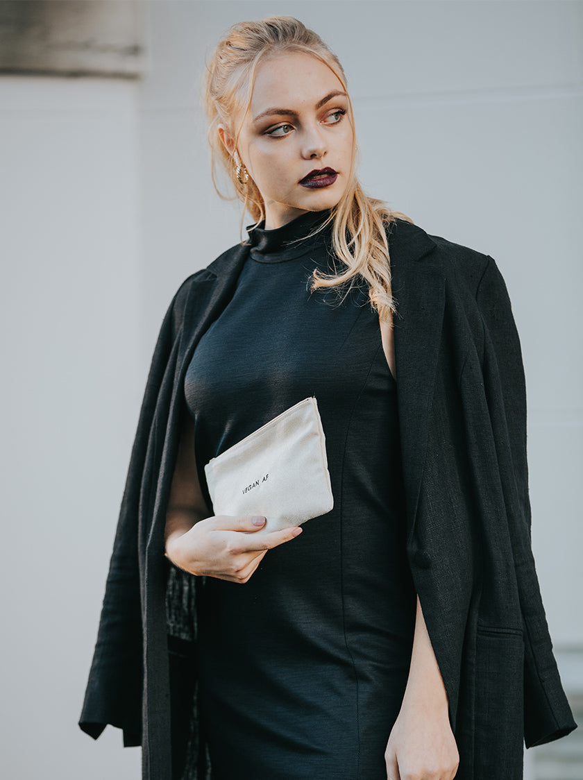 long black jacket vegan fashion