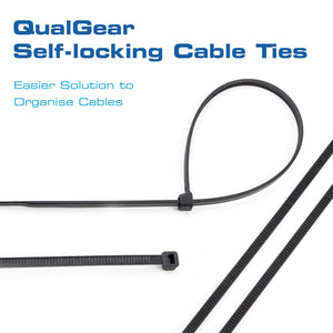 QualGear CT5-B-100-P Self-Locking Cable Ties, 8-Inch, Black 100/Poly Bag