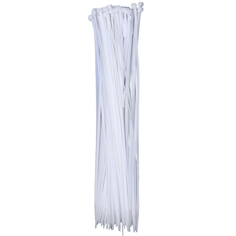 QualGear CT6-W-100-P 14-Inch Self-Locking Cable Ties - White (Pack of 100)