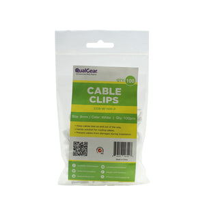 QualGear 8mm Cable Clips, White, 100 Pack, CC8-W-100-P