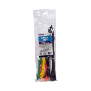 QualGear CT1-MC-200-P Assorted Self-Locking Cable Ties (Pack of 200)
