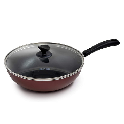 "Supor PC30S3W 30 cm Non-Stick Wok with Glass Lid ""Blemished Packaging- Manufacturer Refurbished, Good as NEW (Comes with One Year Manufacturer Warranty, Direct to the Customer)"""