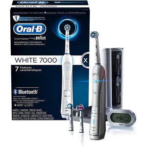 Oral-B 7000 Electric Toothbrush Braun White with 3 Brush Heads, Bluetooth & Travel Case